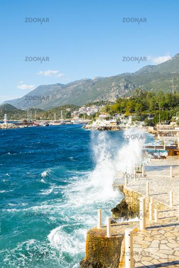 Waves Crashing Waterfront Restaurants Kas Turkey V