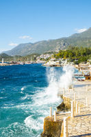 Waves Crashing Waterfront Restaurants Kas Turkey V