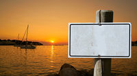 blank sign with copy space on the shore of the Adriatic Sea in Croatia