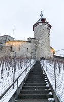 Schaffhausen, SH / Switzerland - January 5, 2019: Munot Castle and vineyards in Schaffhausen covered