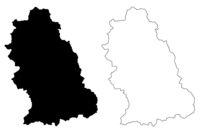 Hunedoara County (Administrative divisions of Romania, Vest development region) map vector illustration, scribble sketch Hunedoara map
