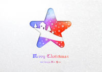 Merry Christmas rainbow star winter card