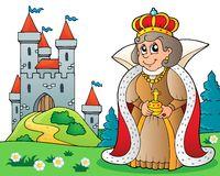 Happy queen near castle theme 3