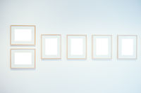 Art Gallery Museum Isolated Frame Contemporary White Wall Rectangular Clipping Path