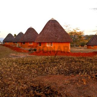 in lesotho  street village near   courtyard