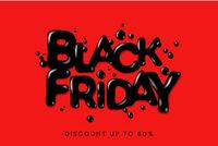 Black Friday Sale. Banner, poster, logo on red background. Discount up to 80 offer, vector illustration.