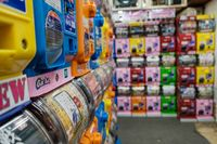 TOKYO, JAPAN - 19 FEB 2018: Many Gashapon toy vending machines on store of Akihabara district