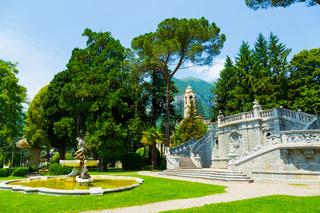 Ornamental fountain in city park over the Lake Como in Tremezzo town, Italy
