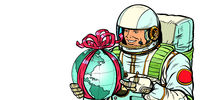 Earth day concept. Astronaut with a gift. Isolate on white background