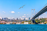 The 15 July Martyrs Bridge or the Bosphorus Bridge and modern Istanbul view