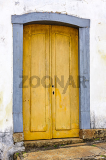 Old wooden colonial church door