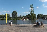 passengers on the passenger ferry on the main river in frankfurt hoechst germany