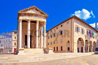 Forum square and historic roman Temple of Augustus in Pula panoramic view