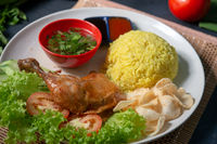 Chicken rice with drumstick