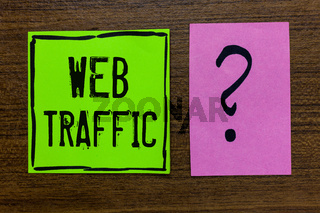 Handwriting text Web Traffic. Concept meaning Amount of data sent and received by visitors to a website Green paper note Important reminder pink question mark wooden background.