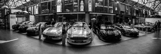 Panoramic view of the garage of Classic Remise Berlin, and repair and service offices