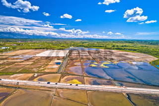 Nin salt fields and Ravni Kotari landscape in Zadar area aerial view