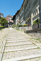 long stone stairs leading from the lower to the upper town in the historic old city of Fribourg