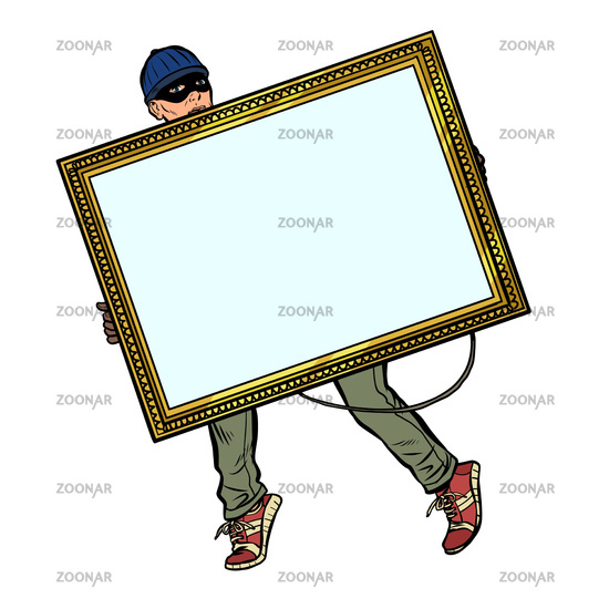 a thief steals a painting