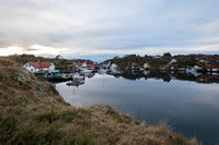 Rovaer in Haugesund, Norway - januray 11, 2018: The Rovaer archipelago in Haugesund, in the norwegian west coast. Small settlement by the sea.