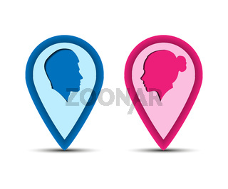 Color icons men and women, pointers for maps terrain