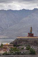 Long shot of Maitreya Buddha at Diskit Monastery, Nubra Valley, Ladakh, Jammu and Kashmir, India