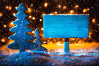 Sign, Christmas Tree, Copy Space, Fairy Lights, Snow