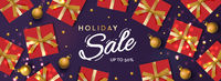 Holiday Sale banner. Christmas purple horizontal background, header for website. Xmas background, design with realistic gift boxes, bauble, and golden ball. New Year's gifts top view.