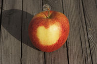 Malus domestica Jonagored, Apple, heart on skin