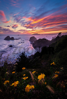 A Seascape Sunset in Northern California, USA