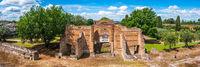 Tivoli - Villa Adriana cultural Rome tour- archaeological landmark in Italy panoramic horizontal of Three Exedras building