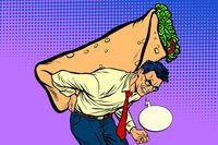man carries Shawarma Doner kebab