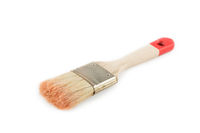 Brush with red color isolated on white background.