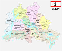 berlin administrative and political map with flag