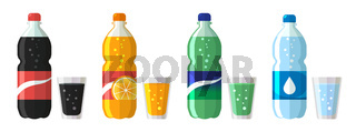set of plastic bottle of water and sweet soda with glasses. Flat vector soda icons illustration