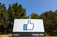 Facebook headquarter headquarters HQ copyspace copy space thumbs up like logo sign