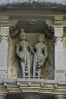 Statue on stone wall carvings at Vitthal Temple, Palashi, Parner, Ahmednagar