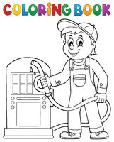 Coloring book gas station worker theme 1