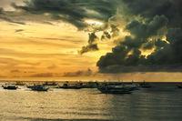 Traditional Philippine boats on sunset. Island Boracay