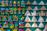 Mexican souvenir magnets on the market at Chichen Itza.