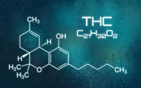 Chemical formula of THC on a futuristic background