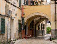 Narrow street in Old Town Corfu