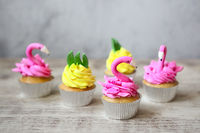 Pink flamingo and pineapple cupcakes for the Birthday party