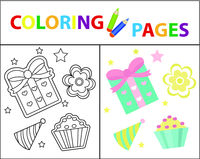 Coloring book page for kids. Birthday gift and cake set. Sketch outline and color version. Childrens education. Vector illustration.