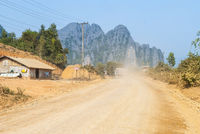 Dirt road thru the village, Laos