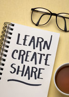 learn, create, share concept