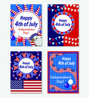 Happy 4th july greeting card, poster set. American Independence Day template collection for your design. Vector illustration