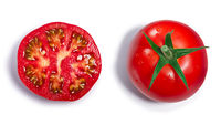Whole and halved Tomatoes, top view, paths