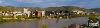 The Ohio River cuts Through Wheeling West Virginia and Bridgeport Ohio