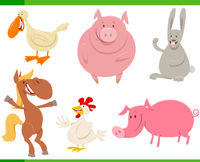 cartoon farm animal characters set